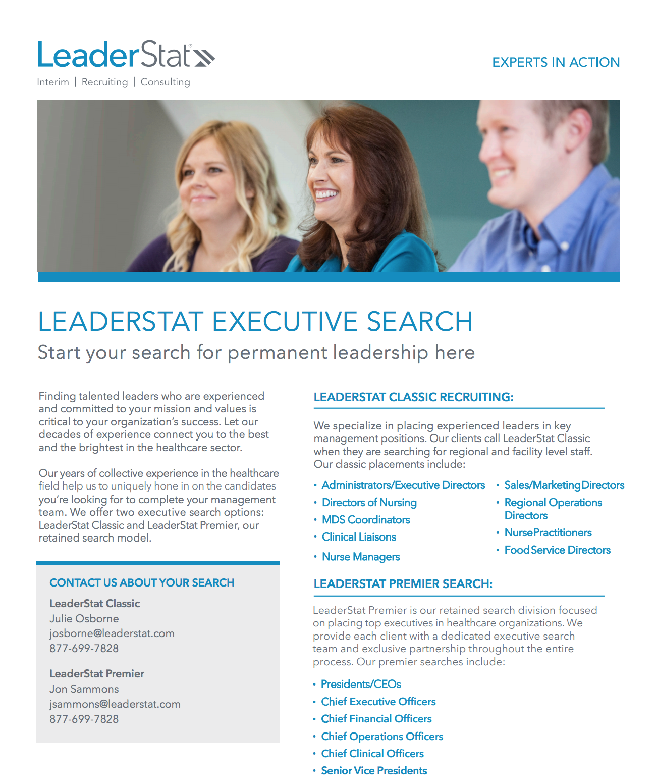 Executive Search One-Sheet