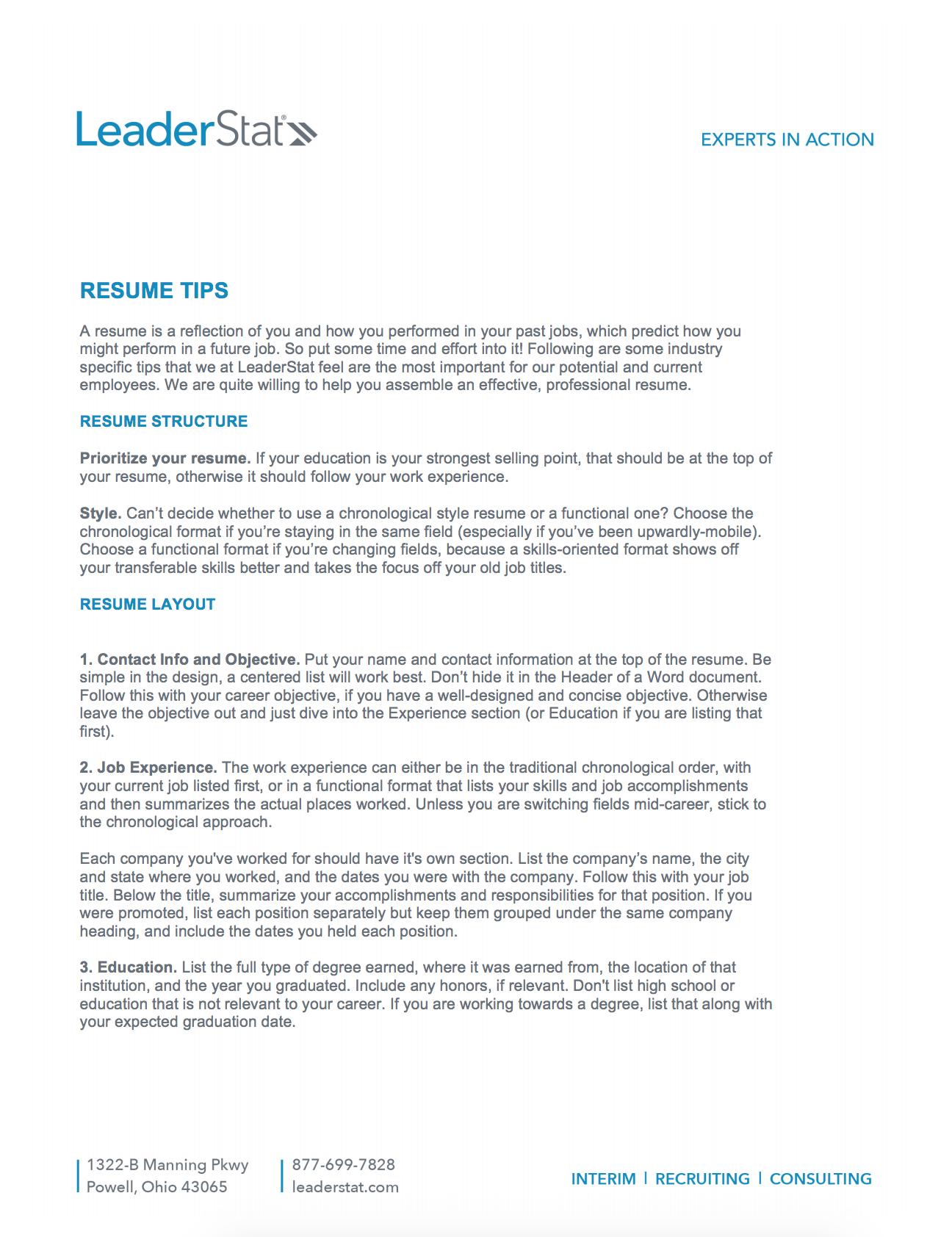 LeaderStat Resume Tips